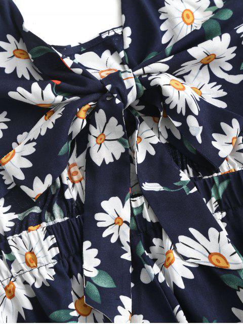 fancy ZAFUL Floral Knotted Wide Leg Cami Romper - CADETBLUE L Mobile