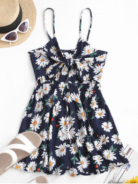 women's ZAFUL Floral Knotted Wide Leg Cami Romper - CADETBLUE M Mobile
