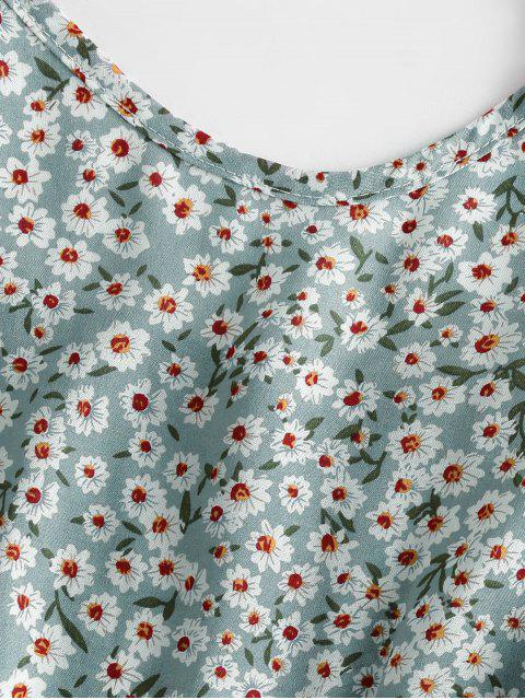 affordable Ditsy Print Flounce Hem Mini Dress - PALE BLUE LILY S Mobile