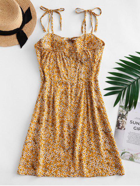 Mini Robe Fleurie Imprimée à Epaule Nouée avec Nœud Papillon - Verge d'Or XL Mobile