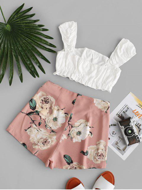 buy ZAFUL Cropped Contrast Knotted Floral Two Piece Set - MULTI S Mobile