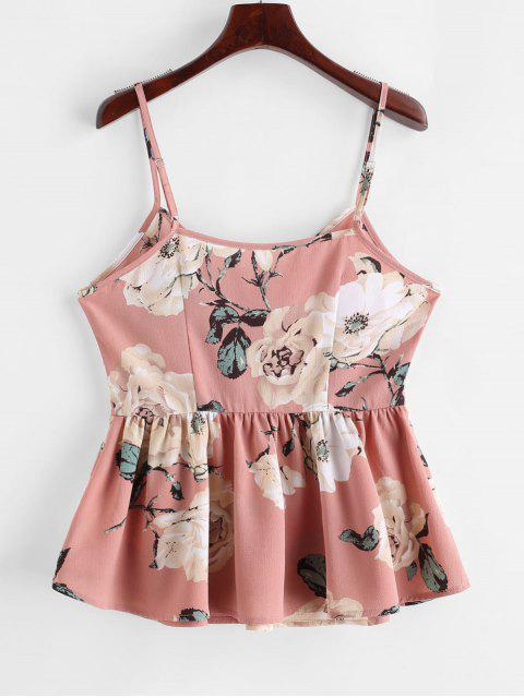 fashion ZAFUL Flower Print Peplum Buttoned Cami Top - ROSE S Mobile