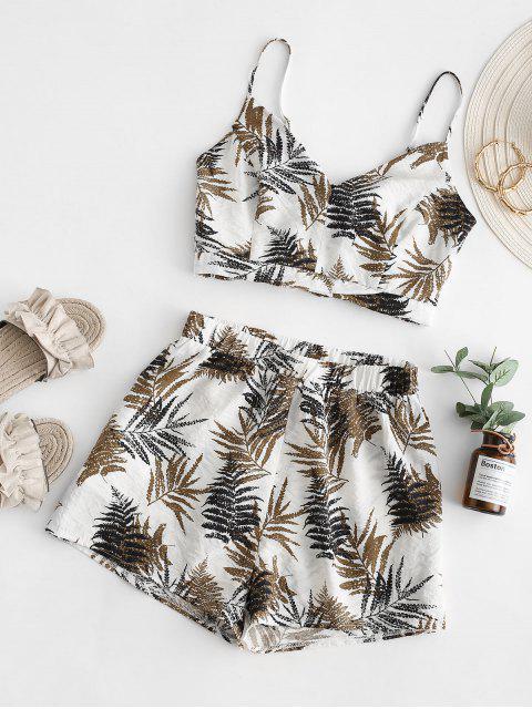 online ZAFUL Leaf Print Smocked Loose Shorts Set - WHITE M Mobile