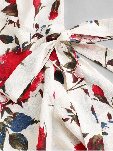 shops ZAFUL Floral Print Ruffles Mini Wrap Dress - MULTI S Mobile