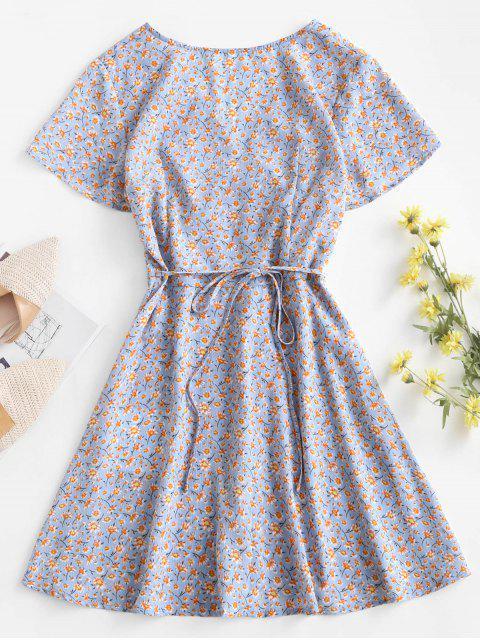 lady ZAFUL Ditsy Floral Wrap Mini Dress - LIGHT BLUE S Mobile