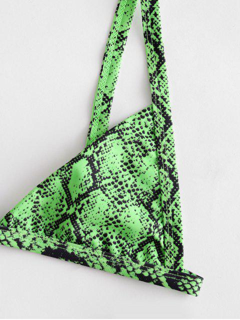 women ZAFUL Snakeskin Print Bikini Set - YELLOW GREEN M Mobile