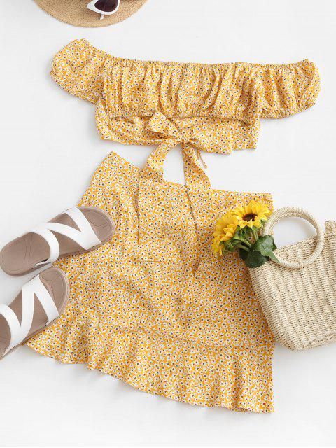 trendy ZAFUL Ditsy Print Cinched Off Shoulder Two Piece Dress - YELLOW M Mobile