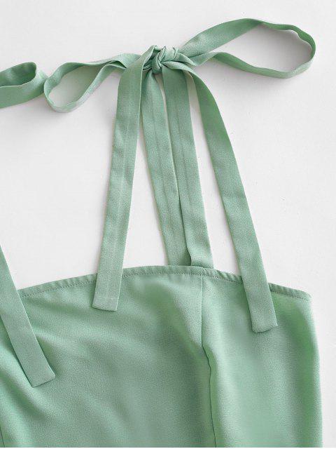 outfits ZAFUL Tie Shoulder Shirred Ruffle Overlap Skirt Set - LIGHT GREEN L Mobile