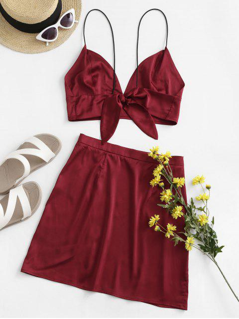 chic ZAFUL Slit Crop Cami Two Piece Suit - RED WINE L Mobile