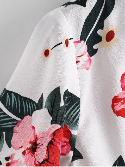 sale ZAFUL Floral Twist Front Crop Blouse - WHITE XL Mobile