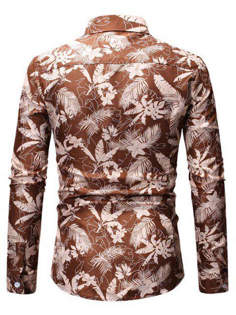 unique Tropical Leaf Print Button Up Long Sleeve Shirt - KHAKI 3XL Mobile