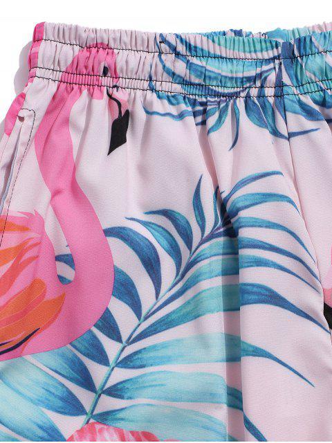 フラミンゴ熱帯の葉プリントバケーションショーツ - ホトピンク S Mobile
