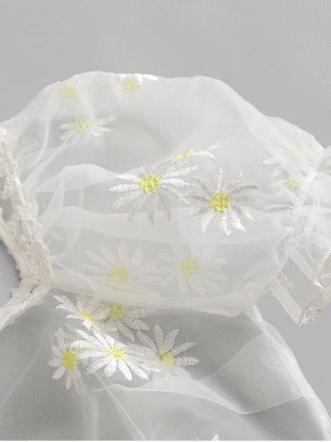 unique ZAFUL Organza Daisy Embroidered Milkmaid Blouse - MILK WHITE XL Mobile
