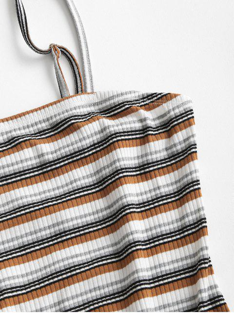 outfit ZAFUL Ribbed Striped Bodycon Cami Dress - MULTI-D M Mobile