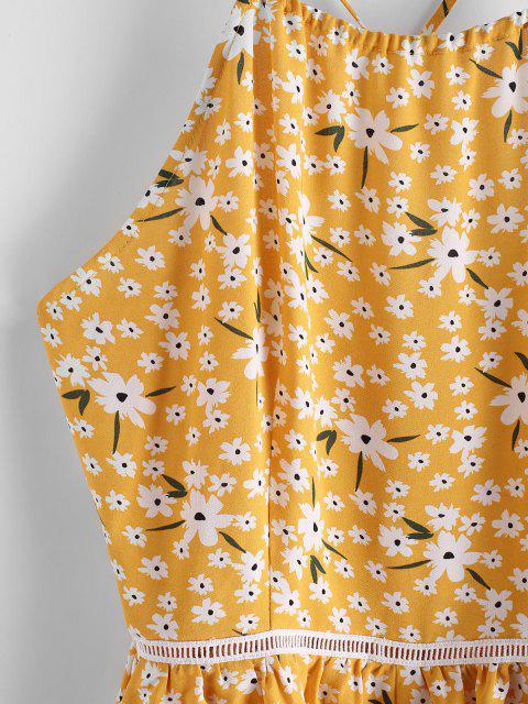 ZAFUL Winziger Camisole mit Breitem Bein und Blumenmuster - Helles Gelb XL Mobile