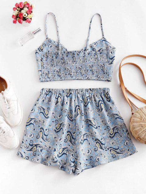 fancy ZAFUL Paisley Smocked Tie Front Ruffle Shorts Set - POWDER BLUE S Mobile