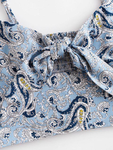 fancy ZAFUL Paisley Smocked Tie Front Ruffle Shorts Set - POWDER BLUE S Mobile