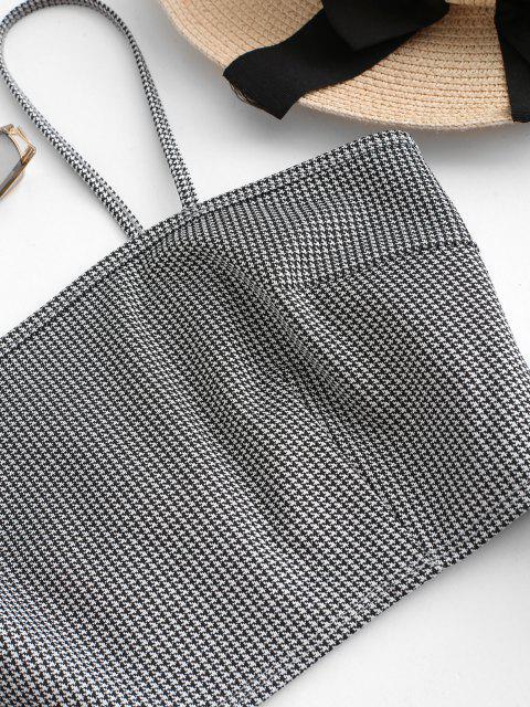 fashion ZAFUL Houndstooth Overlap Skirt Set - MULTI-A XL Mobile