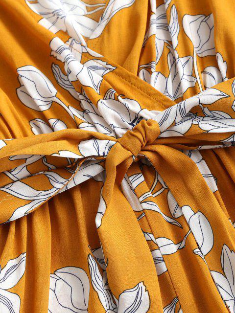 ZAFUL Mono Femenino Floral con Tirantes Finos con Pierna Ancha y Cinturón - Amarillo de Sol  XL Mobile