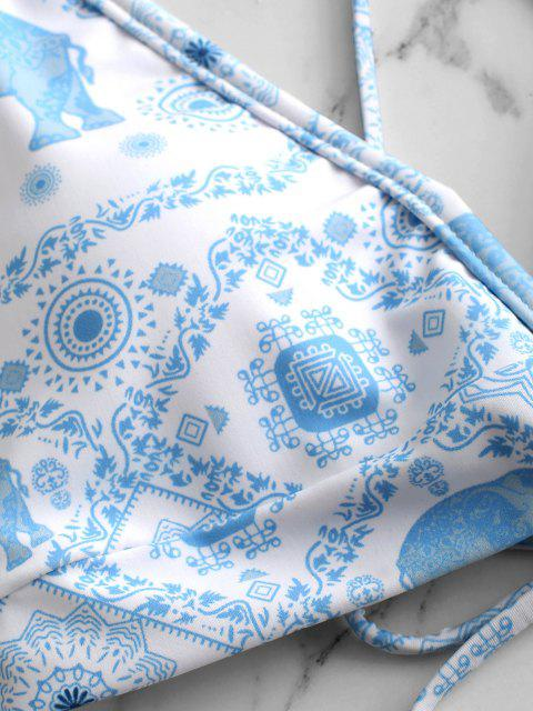 ZAFUL Biquíni de Cintura Alta Corte V com Fios de Alta Corte - Azul de Céu Claro S Mobile
