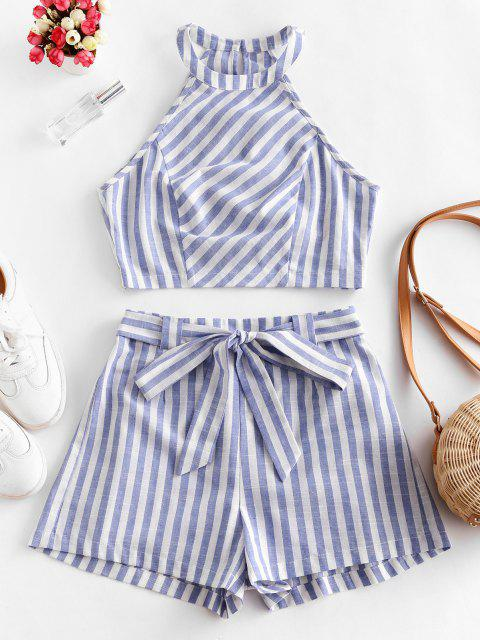 new ZAFUL Striped Cutaway Belted Shorts Set - MULTI XL Mobile