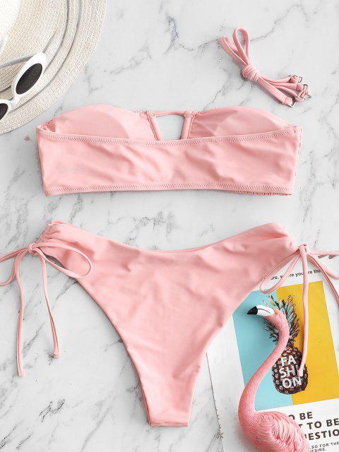 ZAFUL Gebundener Schlüsselloch Kittel Bandeau Bikini Badebekleidung mit Hohem Ausschnitt - Rosa S Mobile