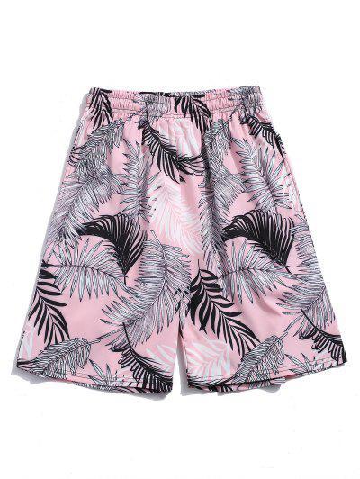 Tropische Blattdruck Urlaub Shorts - Hell-pink 2xl