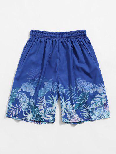 Tropical Leaf Print Vacation Shorts - Silk Blue 3xl