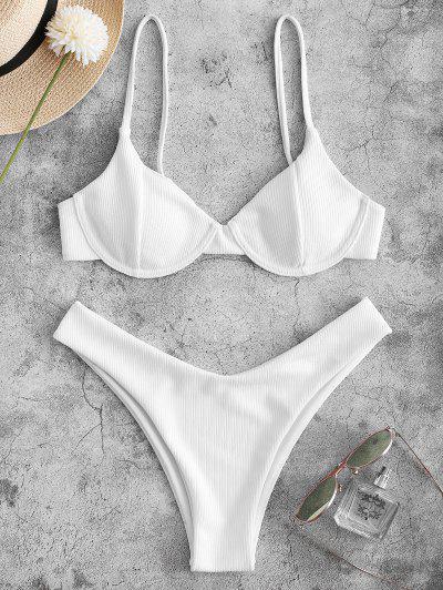 ZAFUL Bikini Badebekleidung Mit Geripptem Bügel Und Hohem Bein - Weiß M