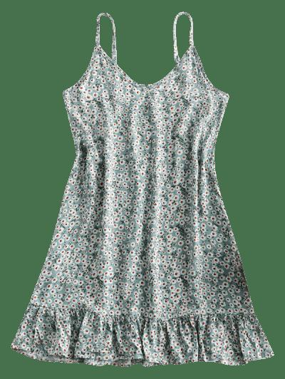 Ditsy Print Flounce Hem Mini Dress