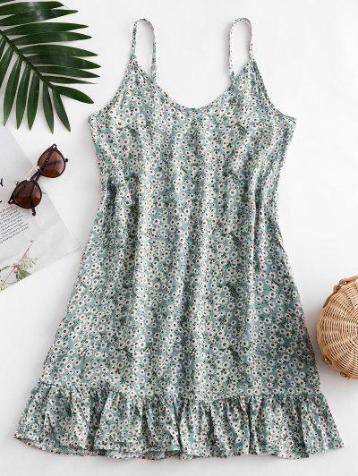 Ditsy Print Flounce Hem Mini Dress - Pale Blue Lily S