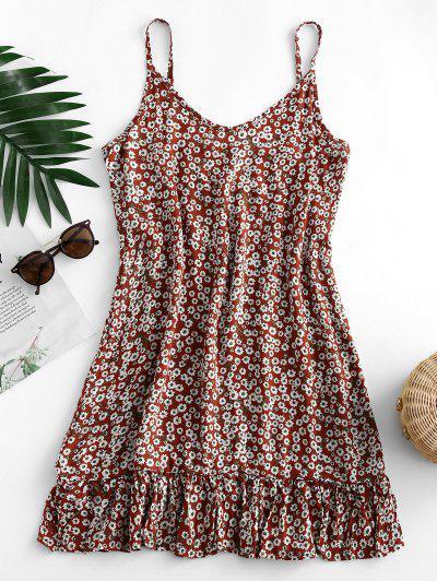 Ditsy Print Flounce Hem Mini Dress - Chestnut Red M