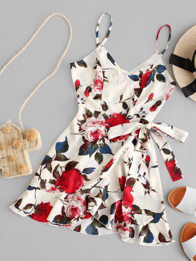 ZAFUL Floral Print Ruffles Mini Wrap Dress - Multi S
