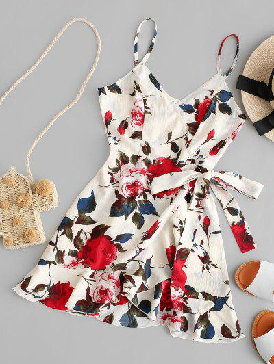 ZAFUL Floral Print Ruffles Mini Wrap Dress - Multi M