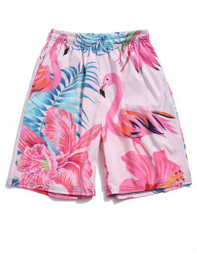 Flamingo Tropical Leaf Print Vacation Shorts - Hot Pink S