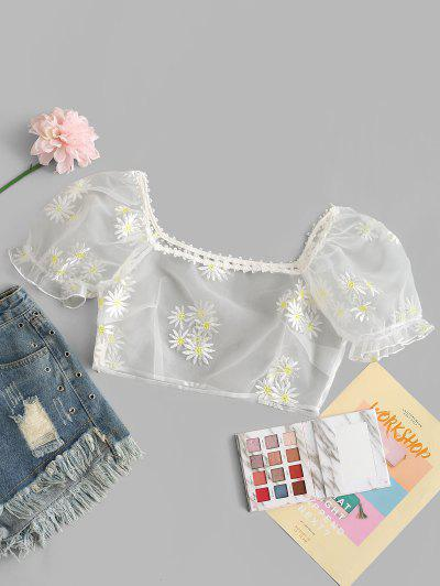 ZAFUL Organza Daisy Embroidered Milkmaid Blouse - Milk White M