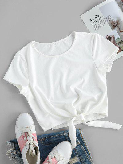 ZAFUL Tie Hem Plain Crop T-shirt - White Xl