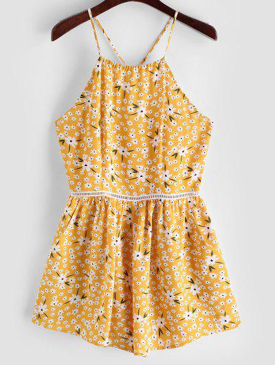 ZAFUL Tiny Floral Wide Leg Cami Romper - Bright Yellow S
