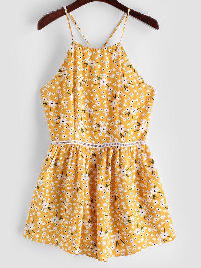 ZAFUL Tiny Floral Wide Leg Cami Romper - Bright Yellow S
