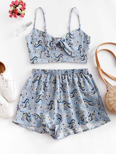 ZAFUL Paisley Smocked Tie Front Ruffle Shorts Set - Powder Blue S