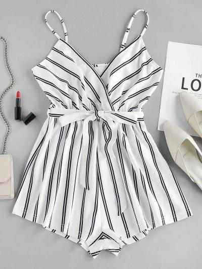 ZAFUL Striped Cami Romper - White S