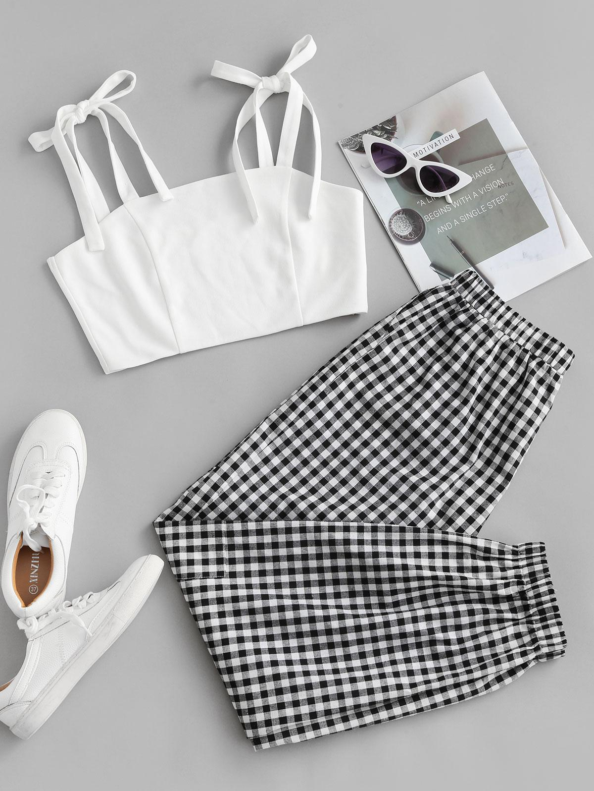 ZAFUL Cropped Tie Shoulder Plaid Two Piece Set