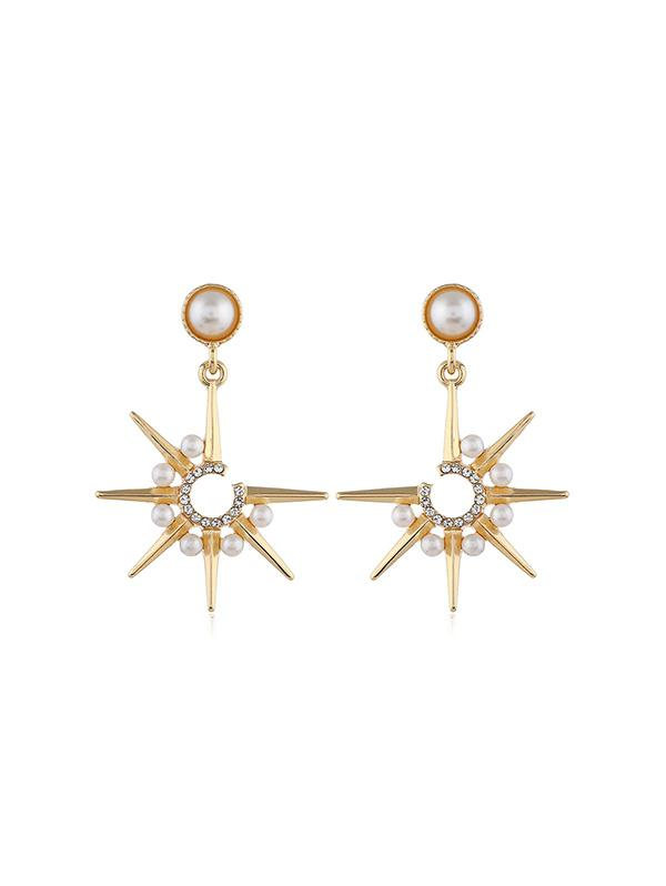 Faux Pearl Star Drop Earrings