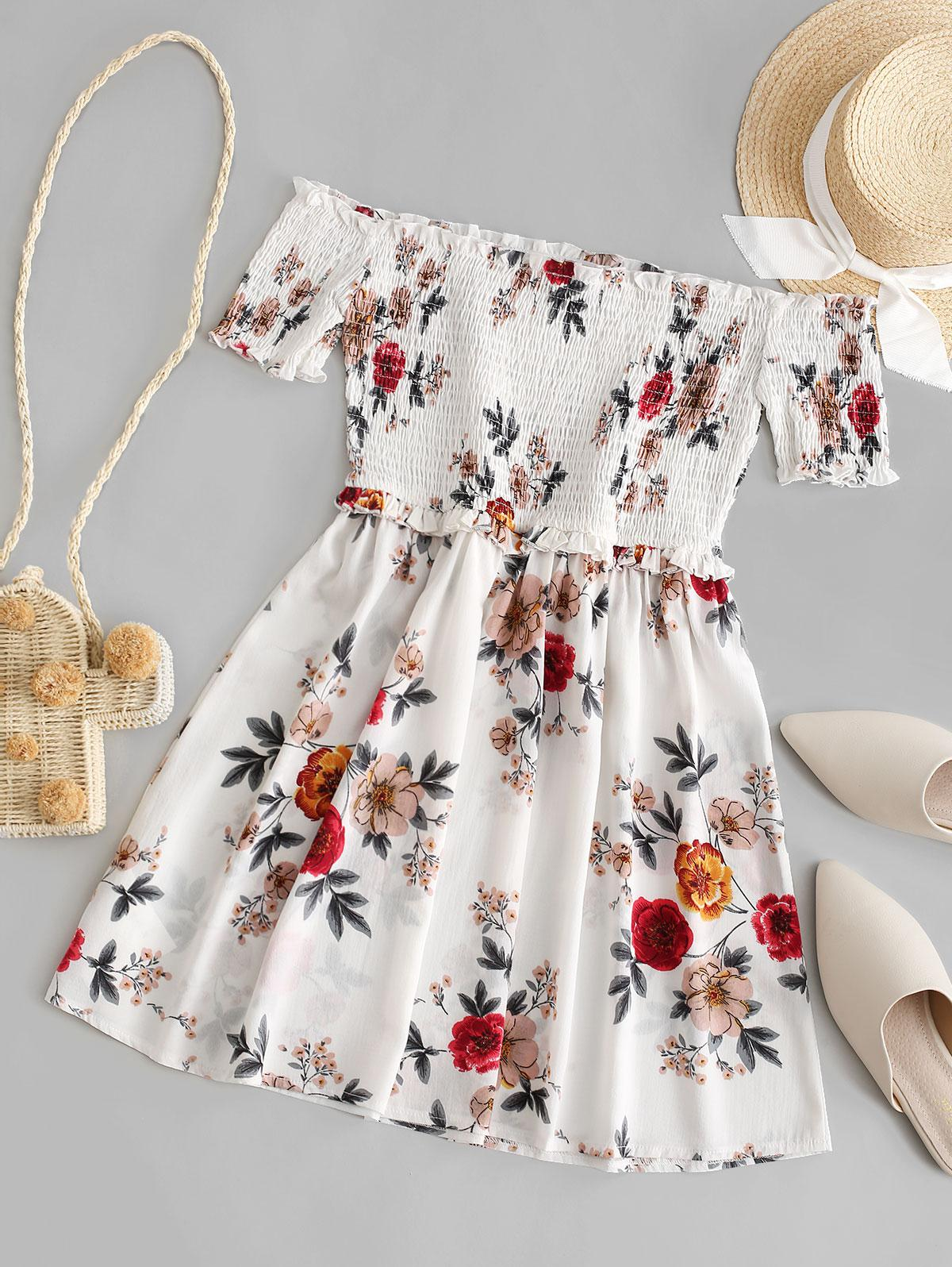 ZAFUL Off Shoulder Frilled Smocked Flower Mini Dress