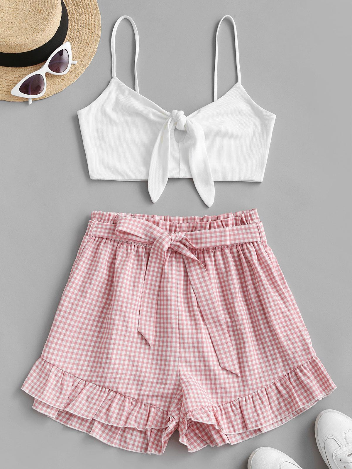 ZAFUL Knotted Gingham Belted Two Piece Suit