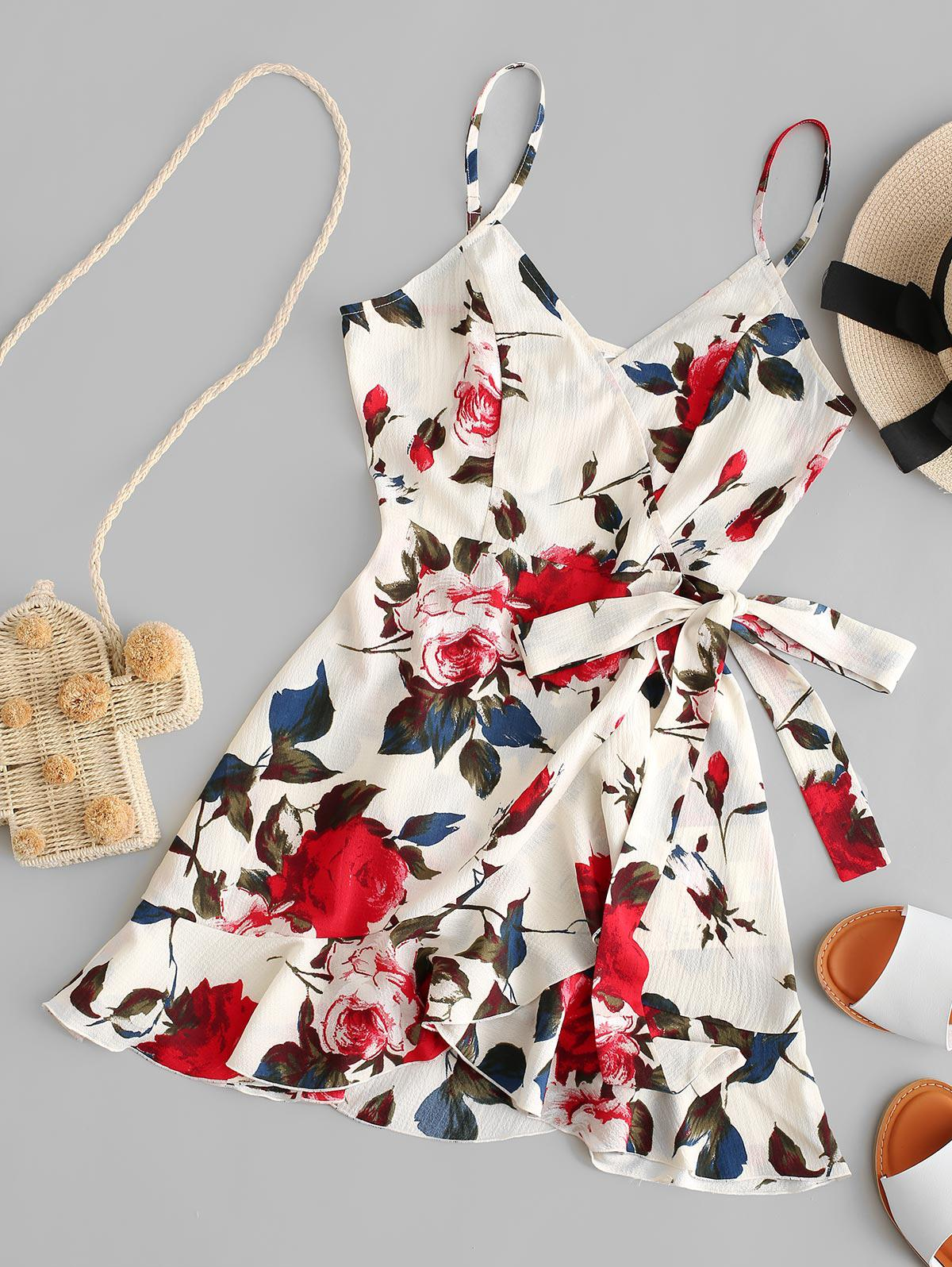 ZAFUL Floral Print Ruffles Mini Wrap Dress