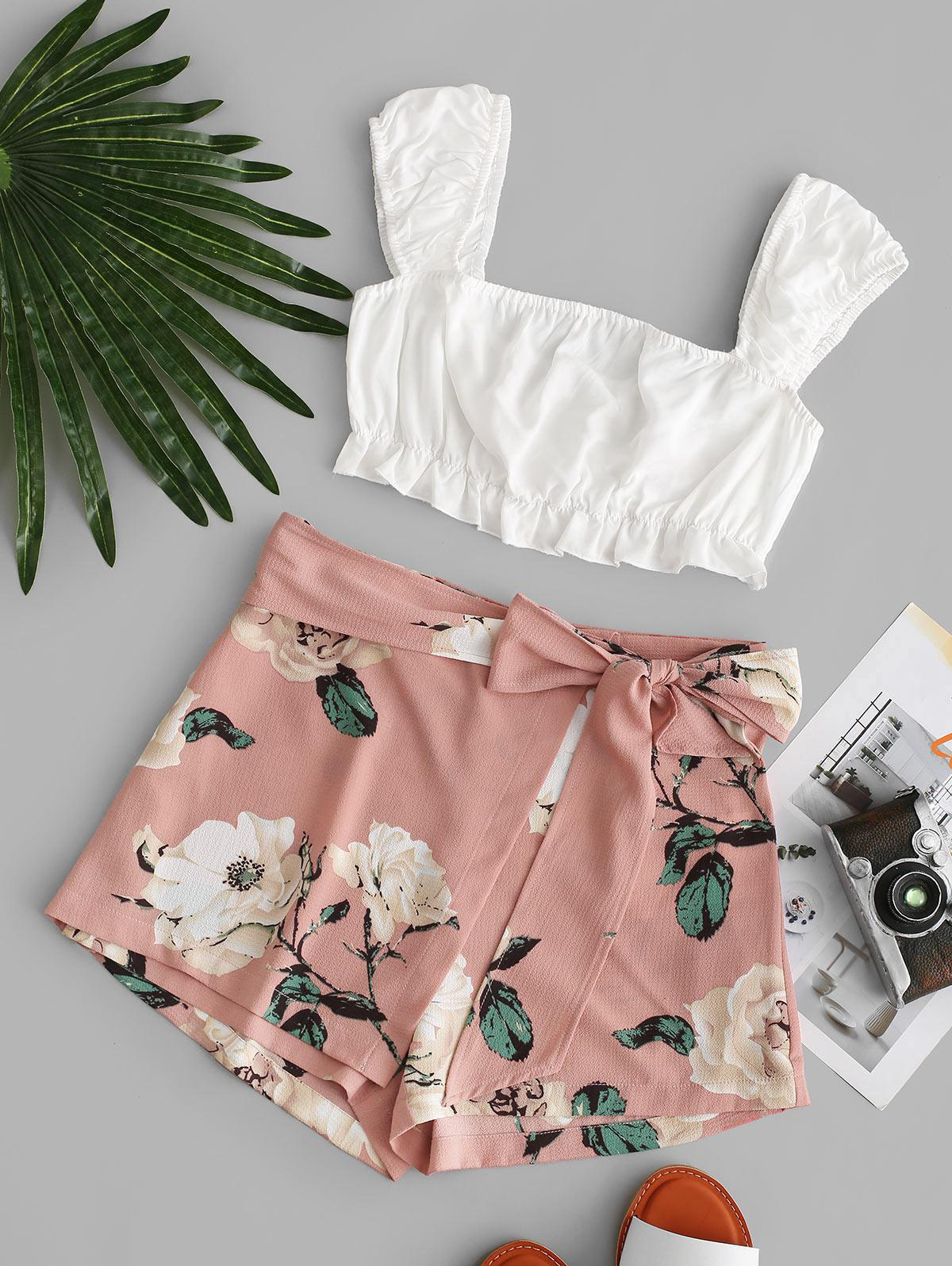 ZAFUL Cropped Contrast Knotted Floral Two Piece Set