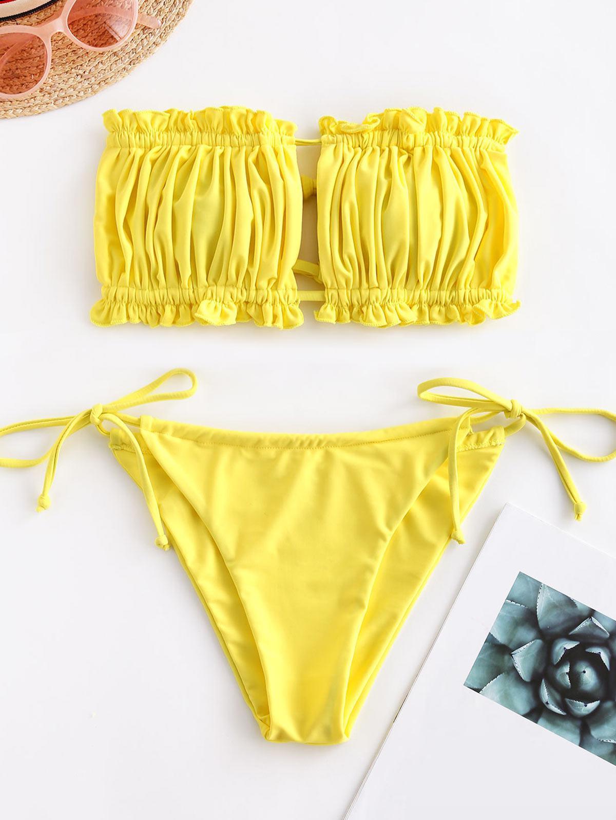 ZAFUL Ruffle Tie Side Low Waisted Bandeau Bikini Swimsuit фото