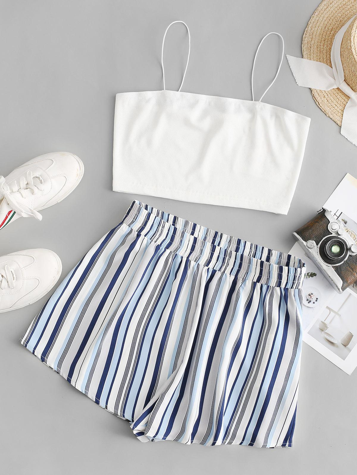 ZAFUL Striped Wide Leg Cami Two Piece Suit