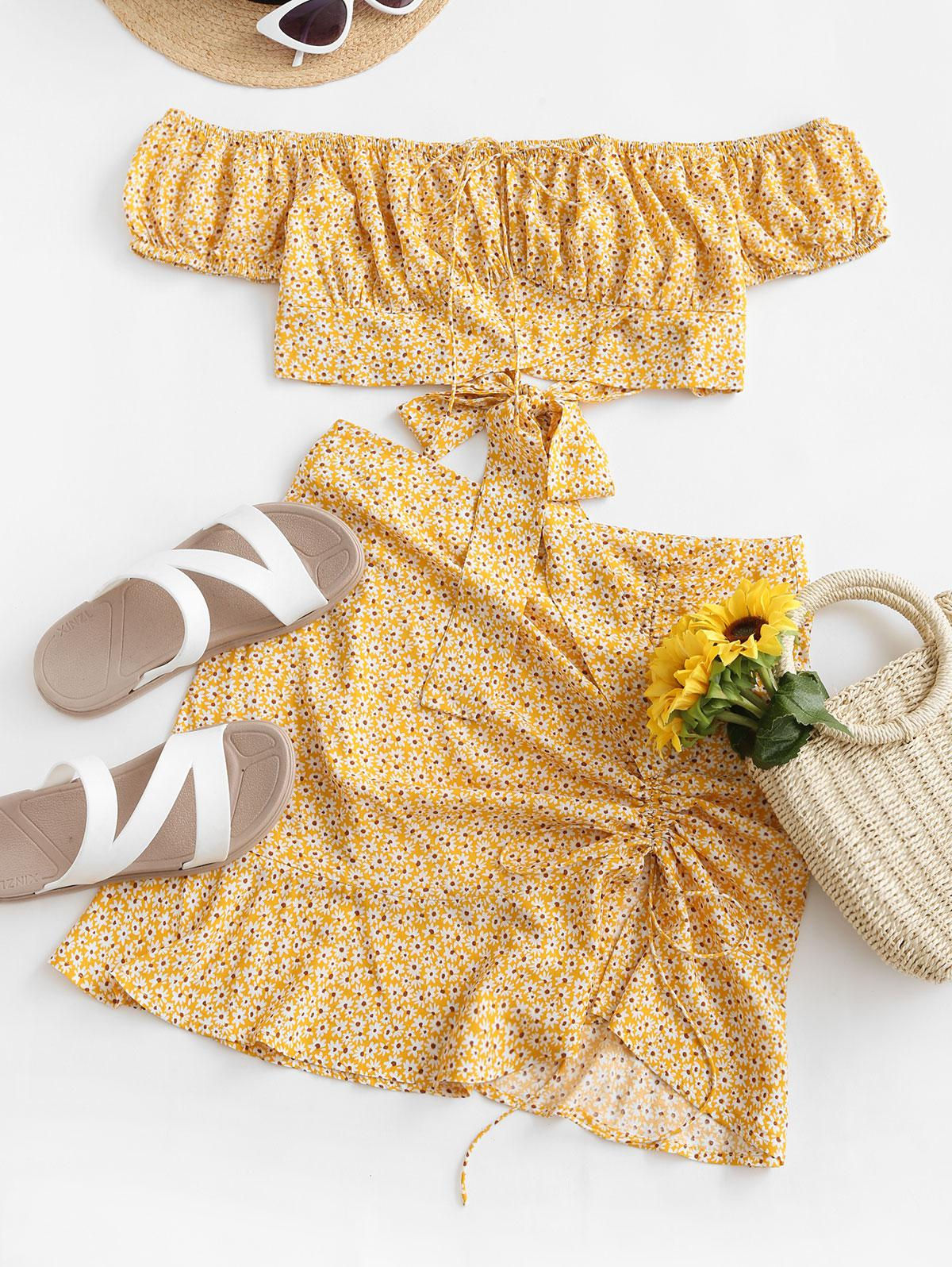 ZAFUL Ditsy Print Cinched Off Shoulder Two Piece Dress